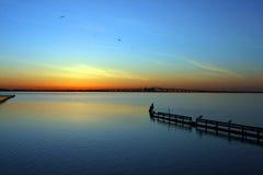 Sonnenaufgang auf dem Schacht Stockfotos