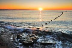 Sonnenaufgang auf dem Strand. Die Türkei. Kemer. Antalya Lizenzfreie Stockfotografie