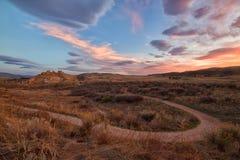 Sonnenaufgang auf dem Teufel-Rückgrat in Loveland Colorado stockfotografie