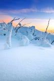 Sonnenaufgang auf Deogyusan-Bergen bedeckt mit Schnee im Winter Lizenzfreies Stockfoto