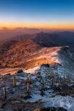 Sonnenaufgang auf Deogyusan-Bergen bedeckt mit Schnee im Winter Stockbilder