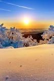 Sonnenaufgang auf Deogyusan-Bergen bedeckt mit Schnee im Winter Stockbild