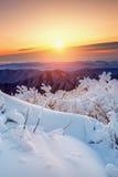 Sonnenaufgang auf Deogyusan-Bergen bedeckt mit Schnee im Winter Lizenzfreies Stockbild