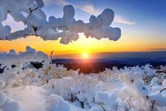 Sonnenaufgang auf Deogyusan-Bergen bedeckt mit Schnee im Winter, Korea Stockbilder