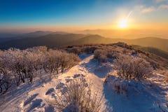 Sonnenaufgang auf Deogyusan-Bergen bedeckt mit Schnee im Winter, Südkorea Stockfotos