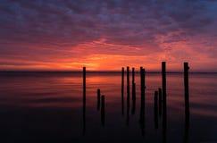Sonnenaufgang auf der indischen Fluss-Lagune Stockfoto