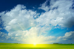 Sonnenaufgang auf Feld Lizenzfreie Stockfotos