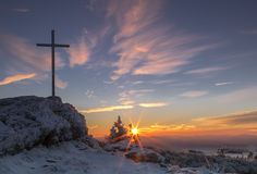 Sonnenaufgang auf großem Arber-Berg stockbilder