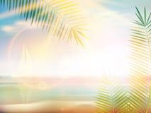 Sonnenaufgang auf karibischer Stranddesignschablone Stockfotografie