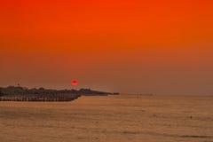 Sonnenaufgang auf Meer am thailändischen Golf Stockfoto