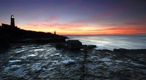 Sonnenaufgang auf Portland in Dorset stockbild