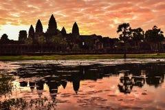 Sonnenaufgang bei Angkor Wat, Siem Reap, Kambodscha Stockfoto