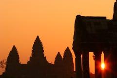 Sonnenaufgang bei Ankor Wat stockfotografie