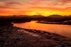Sonnenaufgang bei der vier Meilen-Brücke Stockbilder