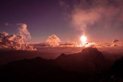 Sonnenaufgang bei Doi Luang Chiangdao Stockfoto