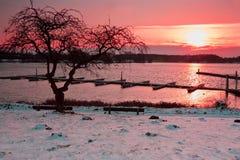 Sonnenaufgang an den Bootspiers Lizenzfreie Stockfotos