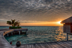 Sonnenaufgang in den Maldives Lizenzfreies Stockbild