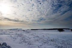 Sonnenaufgang in den Steppen im Frühjahr Lizenzfreies Stockfoto