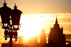 Sonnenaufgang an der Moskau-Stadt Lizenzfreies Stockfoto