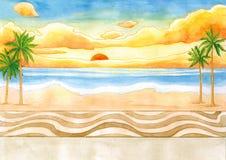 Sonnenaufgang an der Seeseiten-Aquarell-Illustration lizenzfreie abbildung