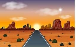 Sonnenaufgang in der Wüste mit Straßenszene stock abbildung
