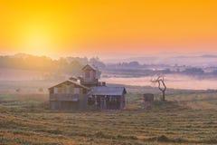 Sonnenaufgang des Bauernhauses in der Korea-Landschaft Anseong-Ackerland Lizenzfreie Stockfotografie