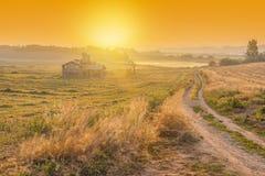 Sonnenaufgang des Bauernhauses in der Korea-Landschaft Anseong-Ackerland Stockbilder