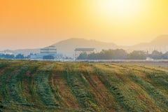 Sonnenaufgang des Bauernhauses in der Korea-Landschaft Anseong-Ackerland Lizenzfreies Stockbild