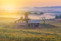 Sonnenaufgang des Bauernhauses in der Korea-Landschaft Anseong-Ackerland Lizenzfreie Stockbilder