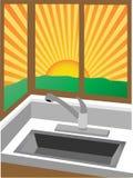 Sonnenaufgang durch Eckfenster nähern sich Wanne Lizenzfreie Stockfotos