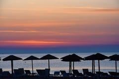 Sonnenaufgang an einem Strand in Katerini, Griechenland Lizenzfreies Stockfoto