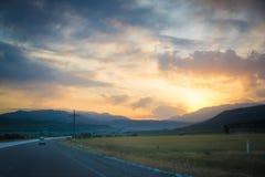 Sonnenaufgang in einer Reise Lizenzfreie Stockfotografie