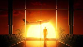 Sonnenaufgang am Flughafen lizenzfreie abbildung