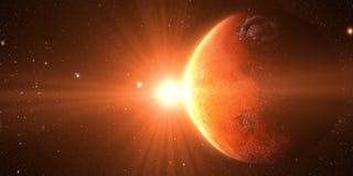 Sonnenaufgang gesehen vom Raum auf Venus lizenzfreie stockbilder