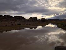 Sonnenaufgang im altiplano von Bolivien stockfotografie