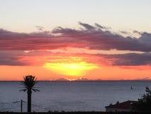 Sonnenaufgang im Süden des Frankreichs stockbild