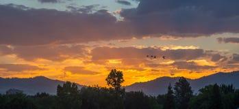Sonnenaufgang in im Stadtzentrum gelegenem Boise, Idaho Stockfotografie