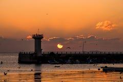 Sonnenaufgang, Leuchtturm, Dämmerung Stockfoto
