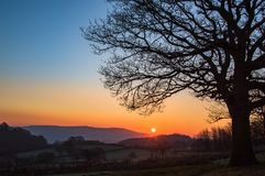 Sonnenaufgang, Llanwonno Lizenzfreies Stockbild