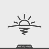 Sonnenaufgang mit Horizont und Seeikone für Netz und Mobile Lizenzfreie Stockfotografie