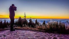 Sonnenaufgang mit mir Stockbilder