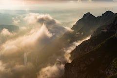 Sonnenaufgang in Montserrat, Barcelona - Spanien Stockfotografie