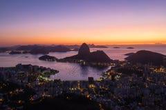 Sonnenaufgang Morro Dona Marta, Rio de Janeiro, Brasilien Stockfoto