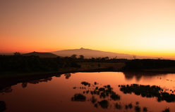 Sonnenaufgang-Mount Kenya Stockfotos
