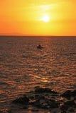 Sonnenaufgang nahe Hvar-Insel, adriatisches Meer, Kroatien Lizenzfreie Stockfotografie