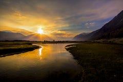 Sonnenaufgang an Nubra-Tal, Leh Ladakh, Indien Stockfotografie