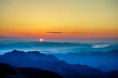 Sonnenaufgang oder Sonnenuntergang Stockbilder