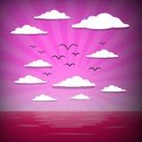Sonnenaufgang-Ozean-Illustration Lizenzfreie Stockbilder