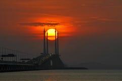 Sonnenaufgang-Penang-Brücke Stockfotografie