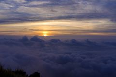Sonnenaufgang am Phu-Chi-Fa Forest Park Lizenzfreie Stockfotos